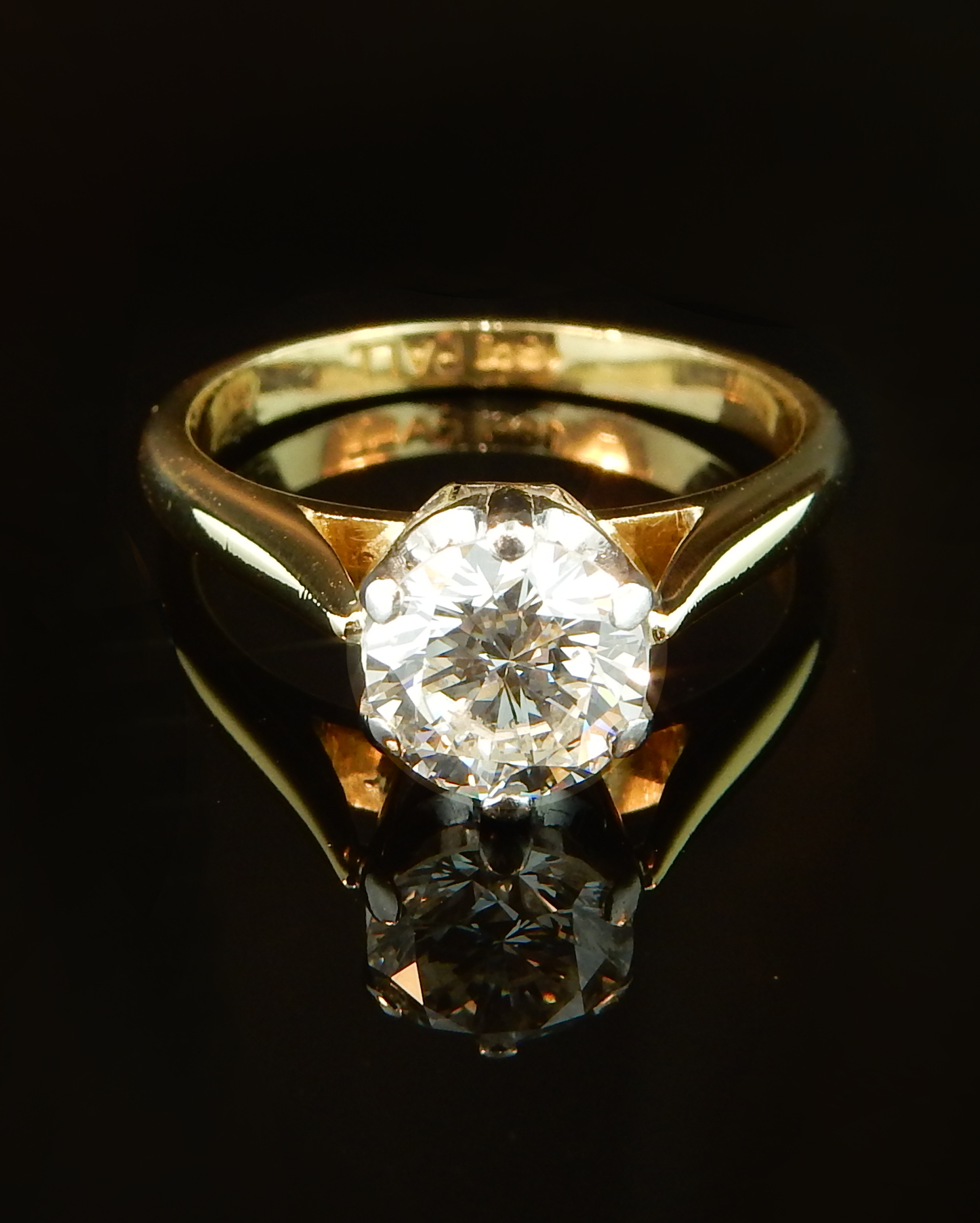 e0dd49d0f Two Tone 0.70ct Palladium and 18k Yellow Gold Solitaire. This engagement  ring ...