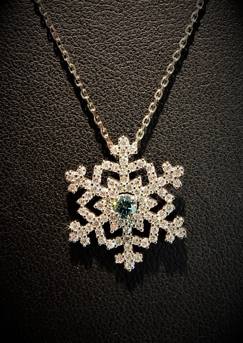 Ferro jewelers snowflakes waterbury blue diamond snowflake necklace mozeypictures Gallery